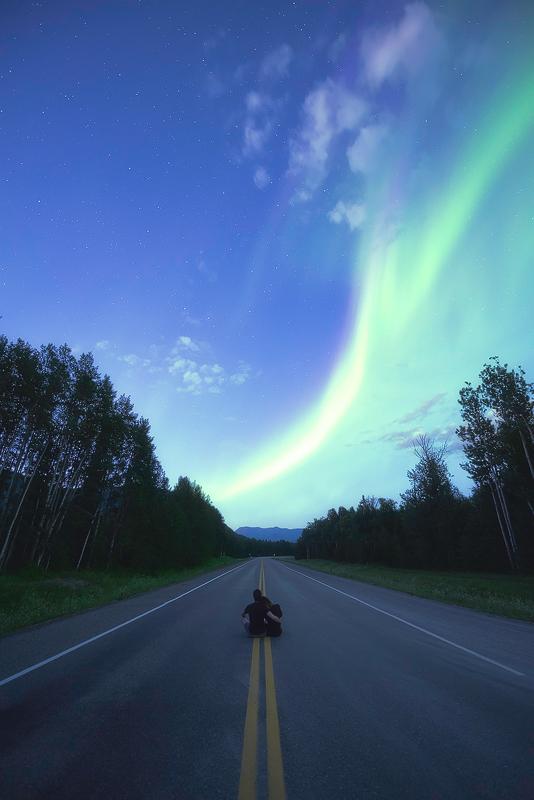 La Alaska Highway et les aurores boréales !