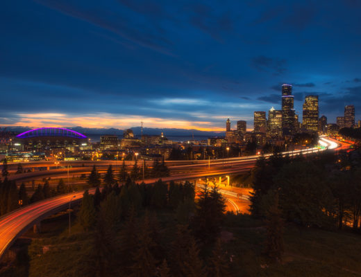 seattle, night, dusk, usa, washington state, long exposure, sunset